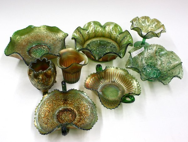 19: green carnival and art glass