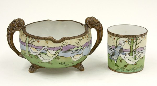 24: Nippon handled and footed bowl and cup