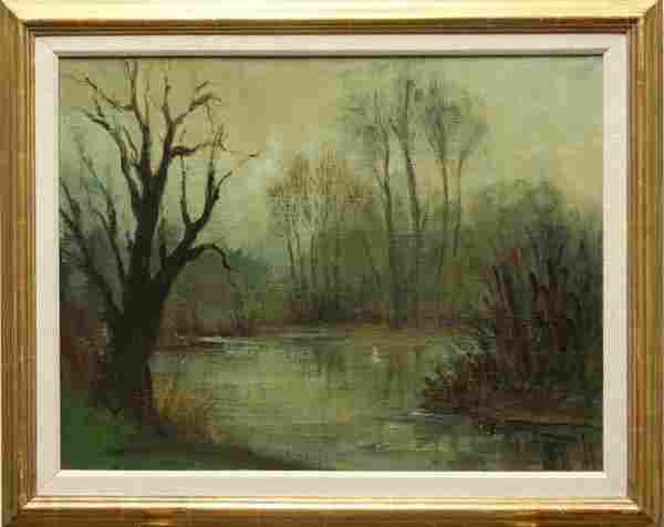 263: Painting, Remy Esteve, Landscape, Lake