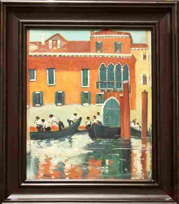 Painting, manner of Jane Peterson, Venice Canal