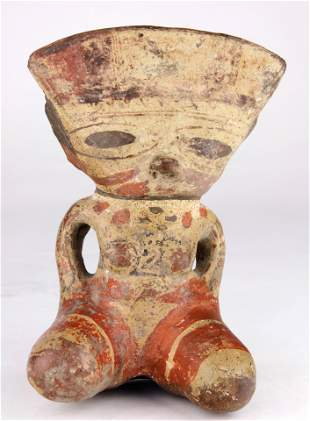 A Pre Columbian polychrome female goddess figure