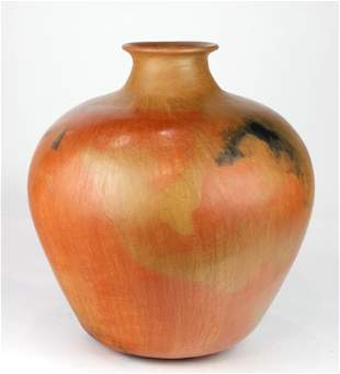 A large Oaxacan redware ovoid vessel