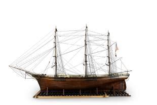 A rare nautical scale model of a U.S bark circa 1860