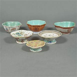 (lot of 6) Chinese famille rose enamel pedestal dishes