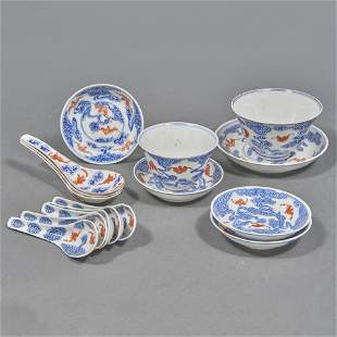 (lot of 15) Chinese blue and white service wares