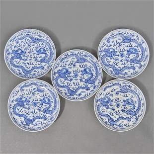 (lot of 5) Chinese blue and white dragon saucer dishes