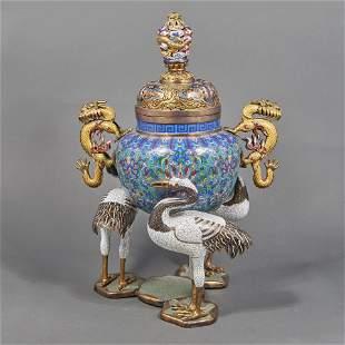 Large Chinese cloisonne enamel incense burner