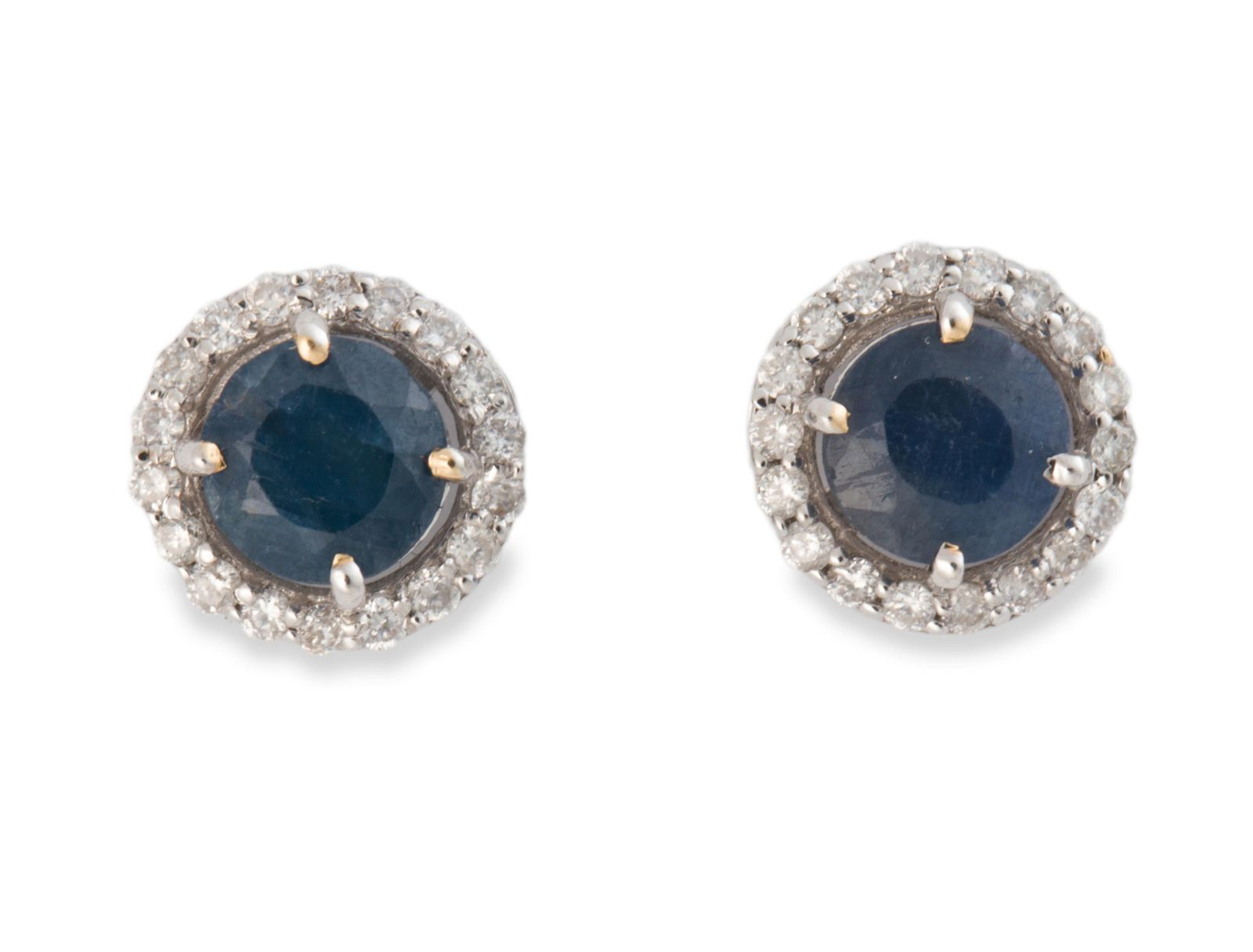 A pair of sapphire, diamond and fourteen karat white