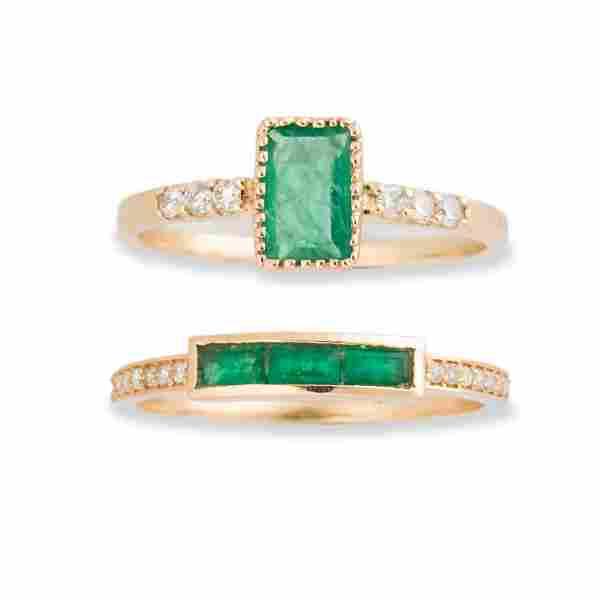 A group of emerald, diamond and fourteen karat gold
