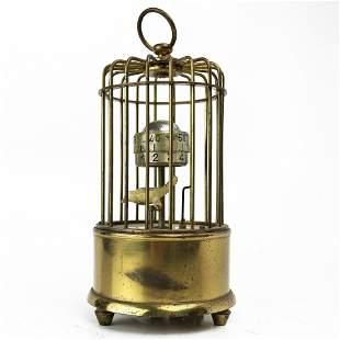 J Kaiser gilt metal birdcage automaton