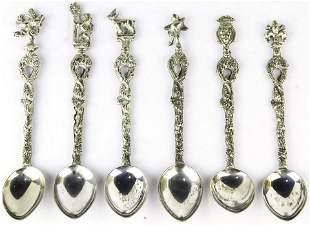 (Lot of 6) Italian souvenir demitasse spoons in the