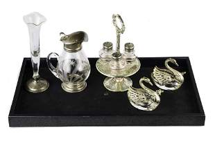 (lot of 5) Four sterling glass mounted table articles