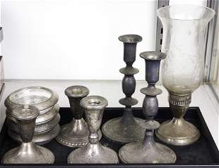 (lot of 10) Six sterling weighted candlesticks