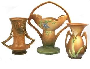 "(lot of 3) Roseville iris vases: two with iris 368-12"""