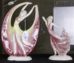 (lot of 2) Art Deco Katzhutte porcelain figures of