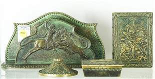"(lot of 4) Art Deco verdigris patinated ""bronze"" desk"