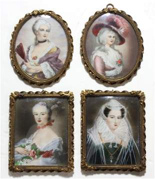(lot of 4) Portrait miniatures of ladies painted in the