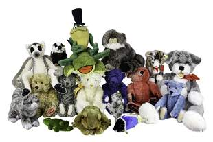 A collection of Steiff stuffed animals
