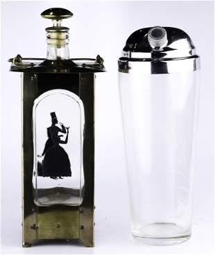 (lot of 2) Arts & Crafts style lantern form liquor