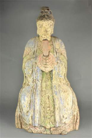 Chinese wood sculpture of a Daoist deity