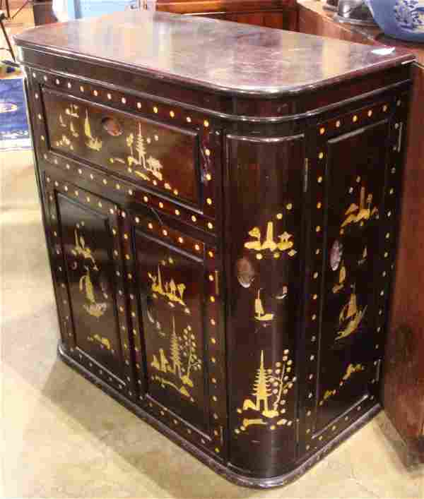 Chinese mother of pearl inlaid wood bar cabinet