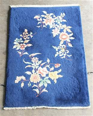 Chinese Art Deco cobalt blue rug with sprays of