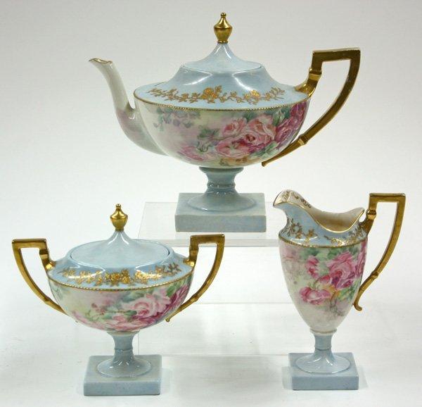6012: American Belleek hand painted tea set