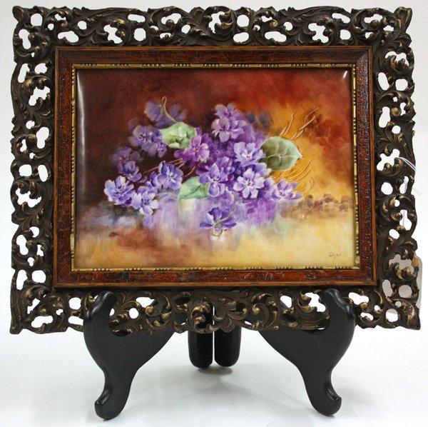6015: Framed porcelain plaque hand painted