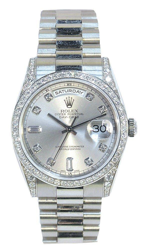 7032: Rolex 18k white gold diamond wristwatch President