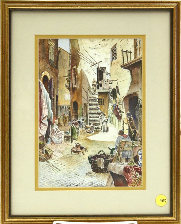 4000: watercolor, Alley Scene