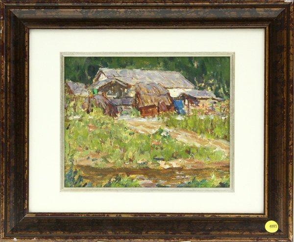 4001: painting, Village Farm, Contemporary