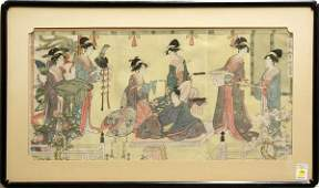 4107 Japanese Woodblock Triptych Reproduction Eisho