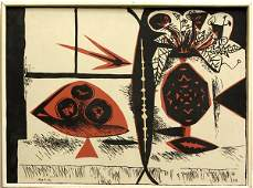 4382: Lithograph, Pablo Picasso, Vase of Flowers