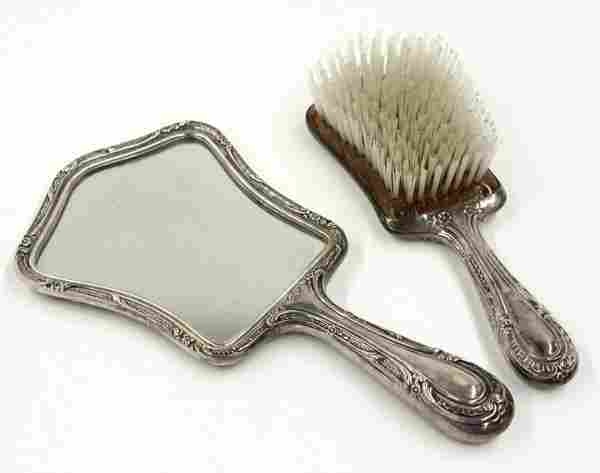 4569: Gorham sterling silver vanity brush and mirror