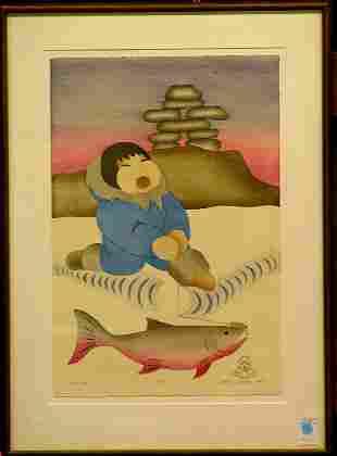 Okheena eskimo lithograph