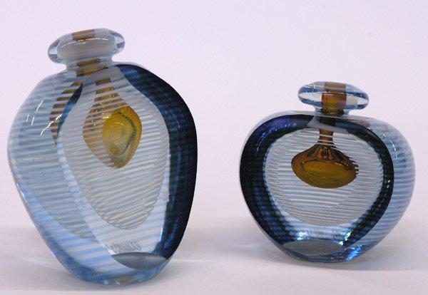 13: Art glass scent bottles