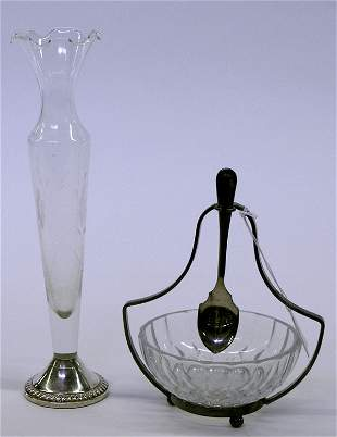 Val St. Lambert dish and vase