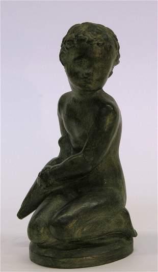 Patinated ceramic sculpture