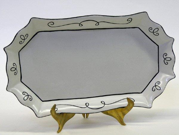 19: Scalloped tray with enamel decoration