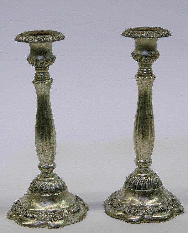 22: Silverplate candlesticks