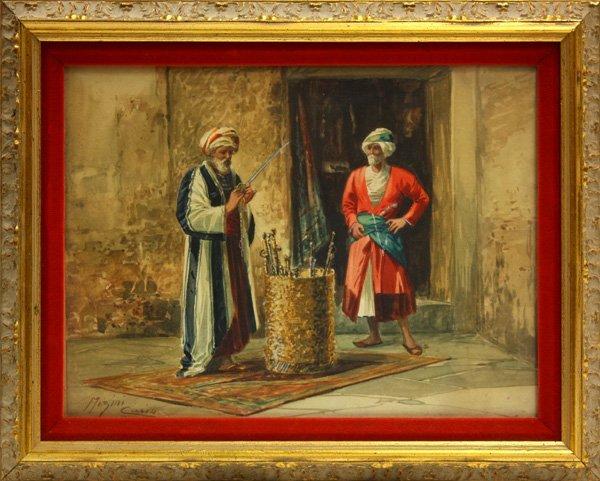 2009: Watercolor, Ciro Mazini, Cairo, Orientalist Scene