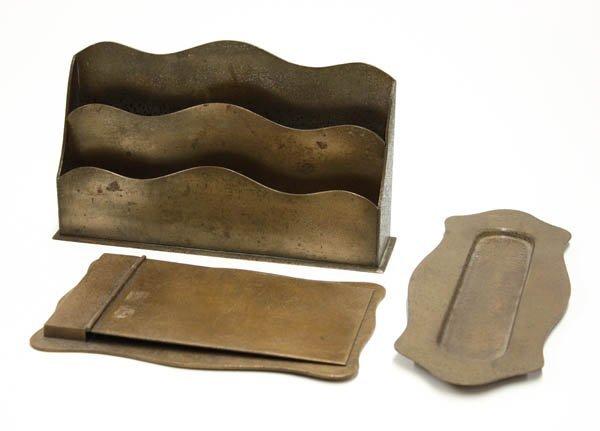 2019: Shreve three piece patinated bronze desk set