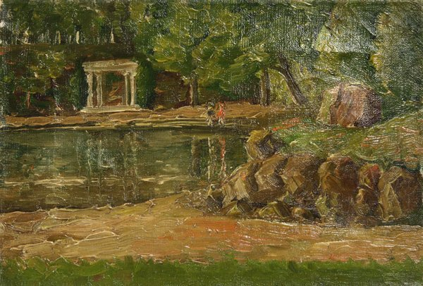 5: Painting, Amer Schl, Figures by Lake