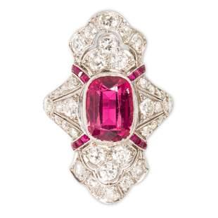 A pink tourmaline, diamond and platinum ring