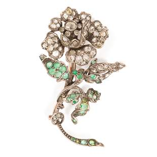 A Georgian emerald, diamond and silver brooch