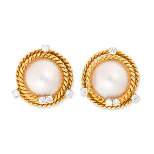 Mabe pearl, diamond and eighteen karat gold earclips,
