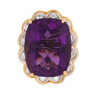 An amethyst, diamond and eighteen karat gold ring