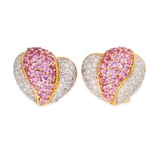 A pair of pink sapphire, diamond and eighteen karat