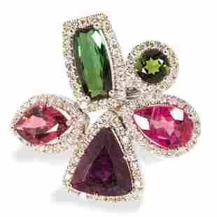 A multi-color tourmaline, diamond and eighteen karat
