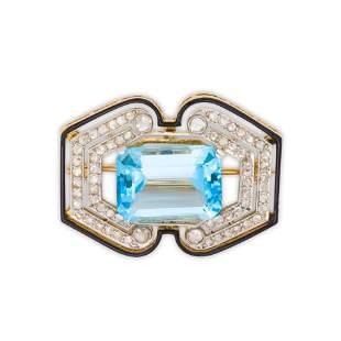 An Early Art Deco aquamarine, diamond and enamel brooch